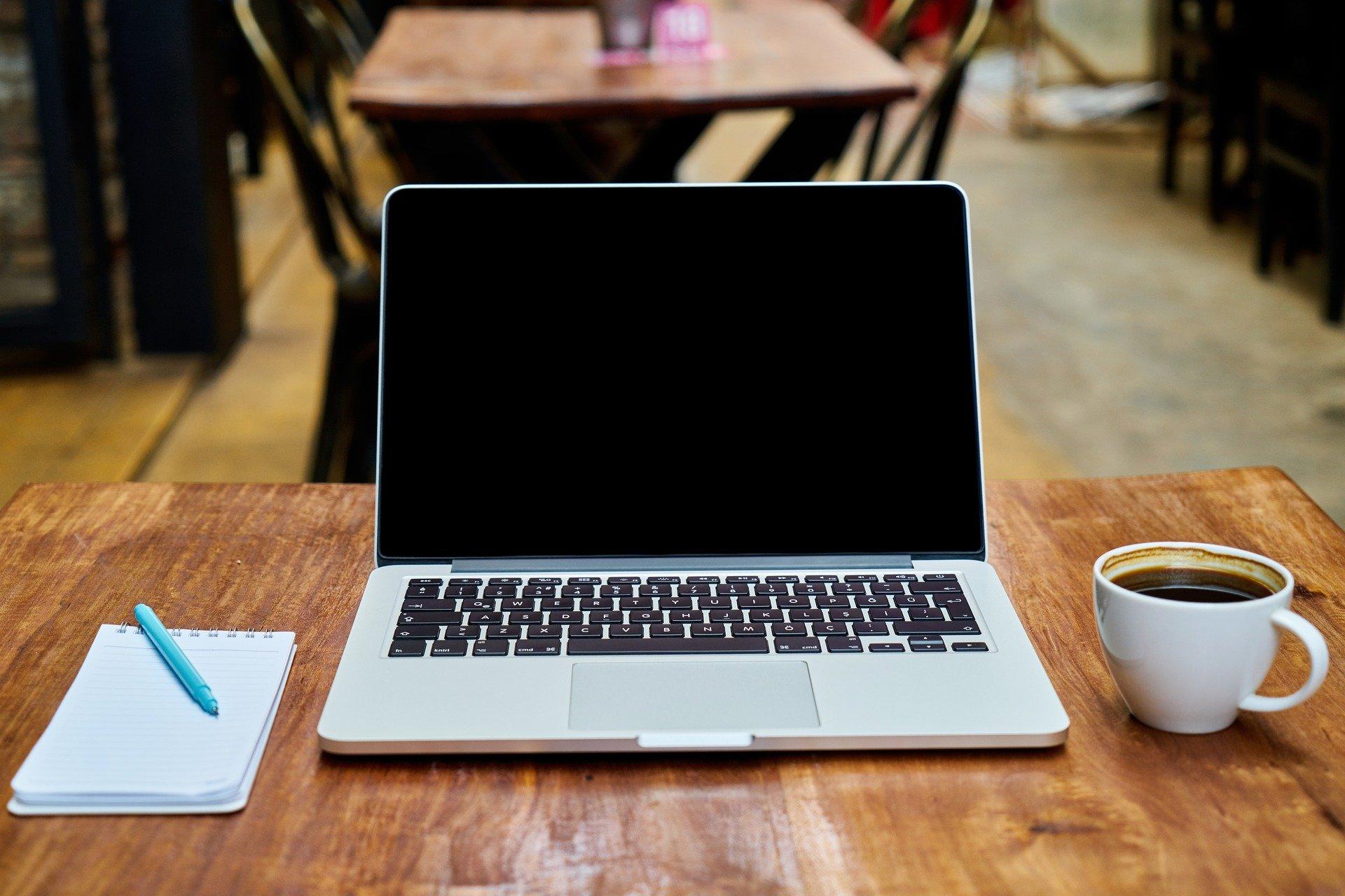 lap top, computer, kaffe, cafe, arbejde